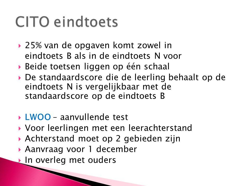CITO eindtoets 25% van de opgaven komt zowel in