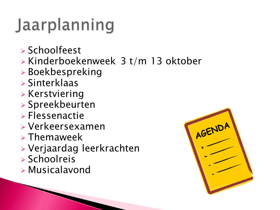 Jaarplanning Schoolfeest Kinderboekenweek 3 t/m 13 oktober