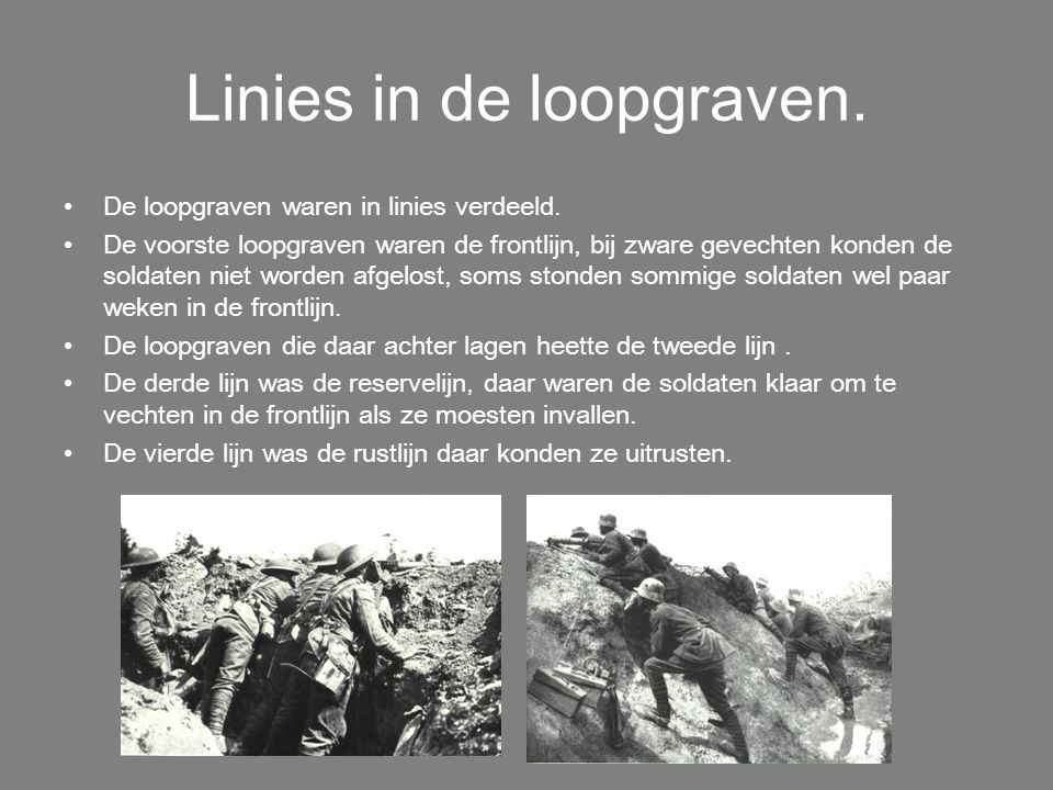 Linies in de loopgraven.
