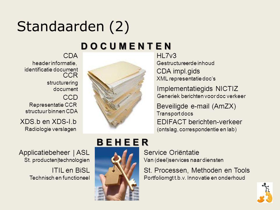 Standaarden (2) D O C U M E N T E N B E H E E R HL7v3 CDA impl.gids