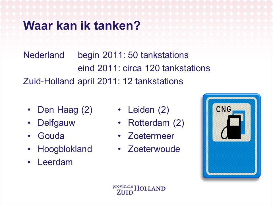 Waar kan ik tanken Nederland begin 2011: 50 tankstations eind 2011: circa 120 tankstations Zuid-Holland april 2011: 12 tankstations