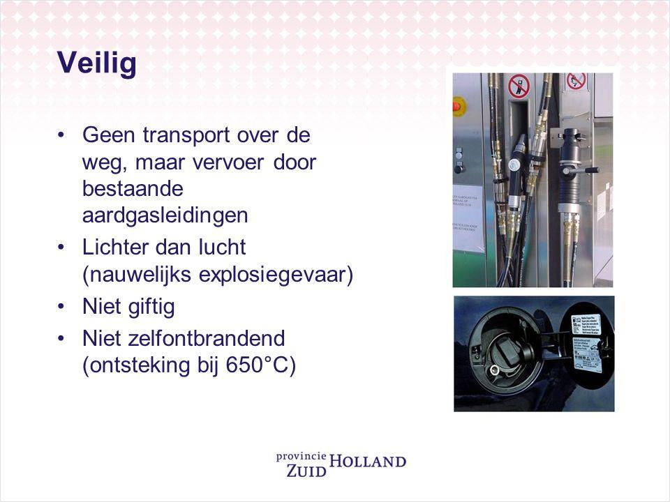 Veilig Geen transport over de weg, maar vervoer door bestaande aardgasleidingen. Lichter dan lucht (nauwelijks explosiegevaar)