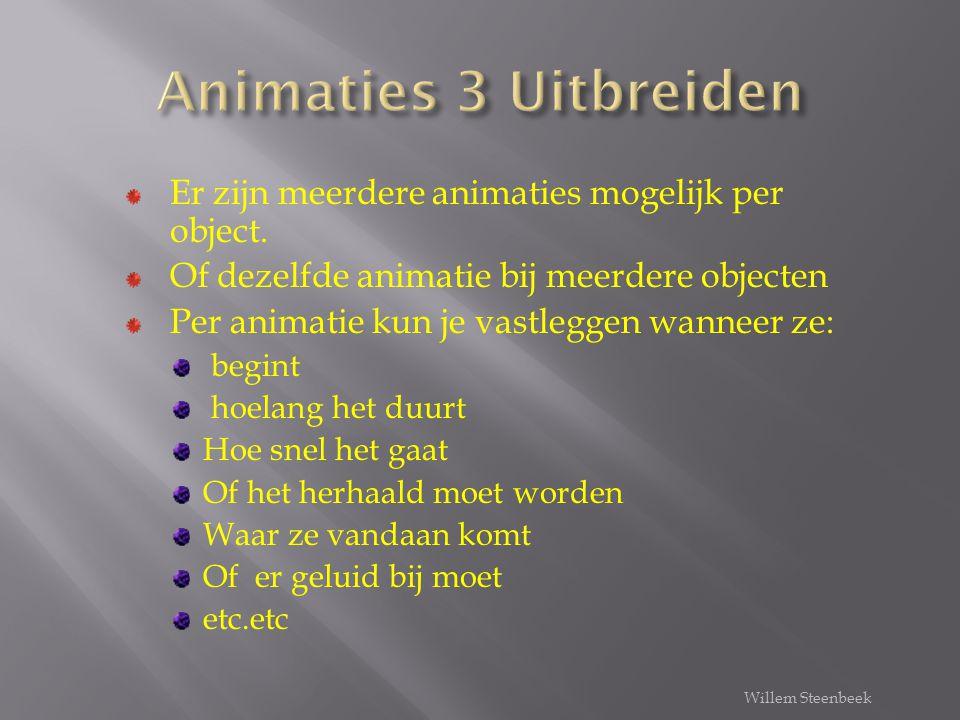 Animaties 3 Uitbreiden Er zijn meerdere animaties mogelijk per object.