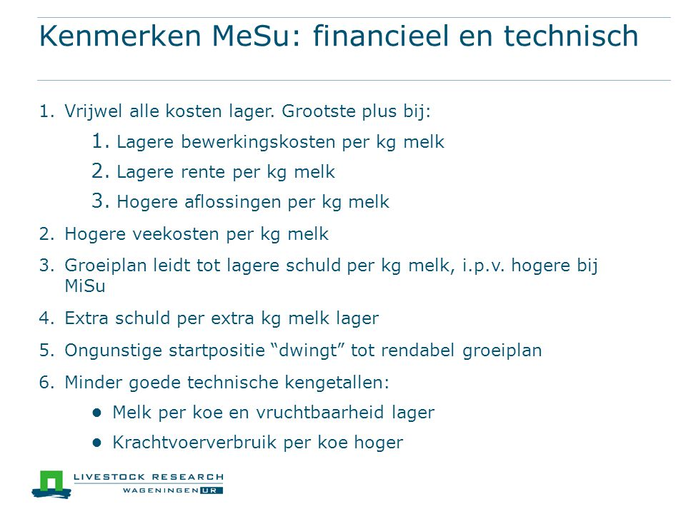 Kenmerken MeSu: financieel en technisch