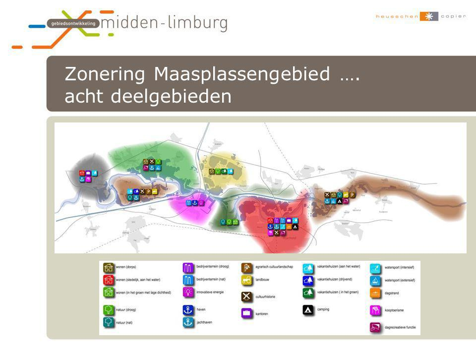 Zonering Maasplassengebied …. acht deelgebieden