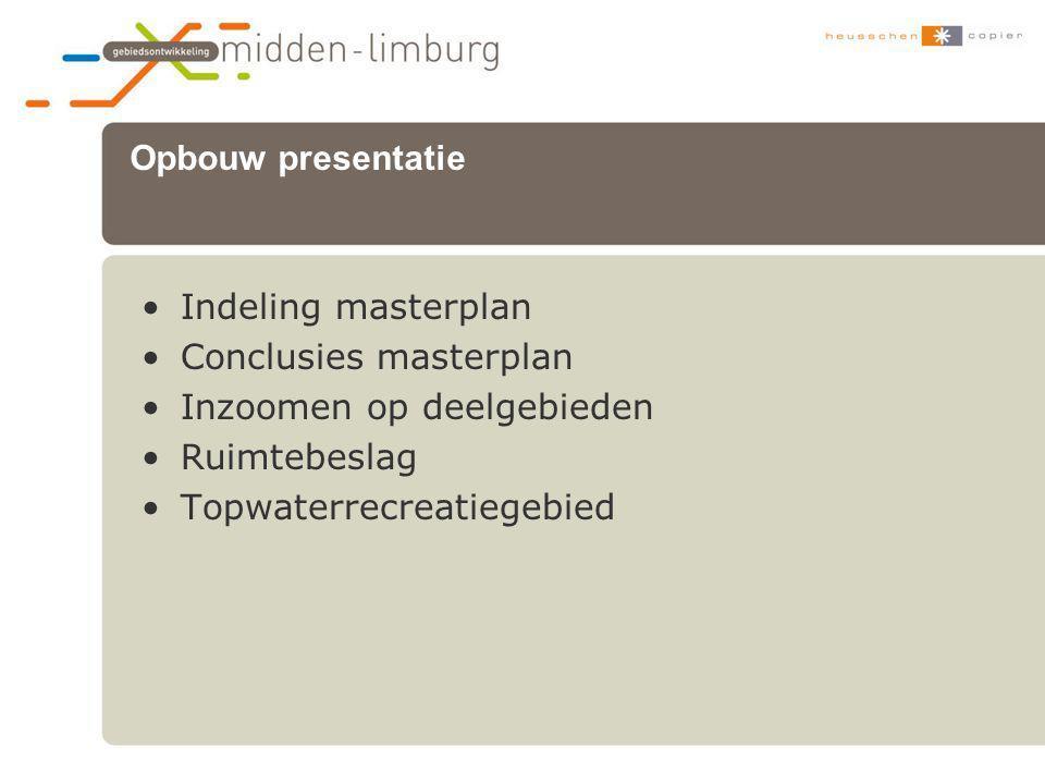 Opbouw presentatie Indeling masterplan. Conclusies masterplan. Inzoomen op deelgebieden. Ruimtebeslag.