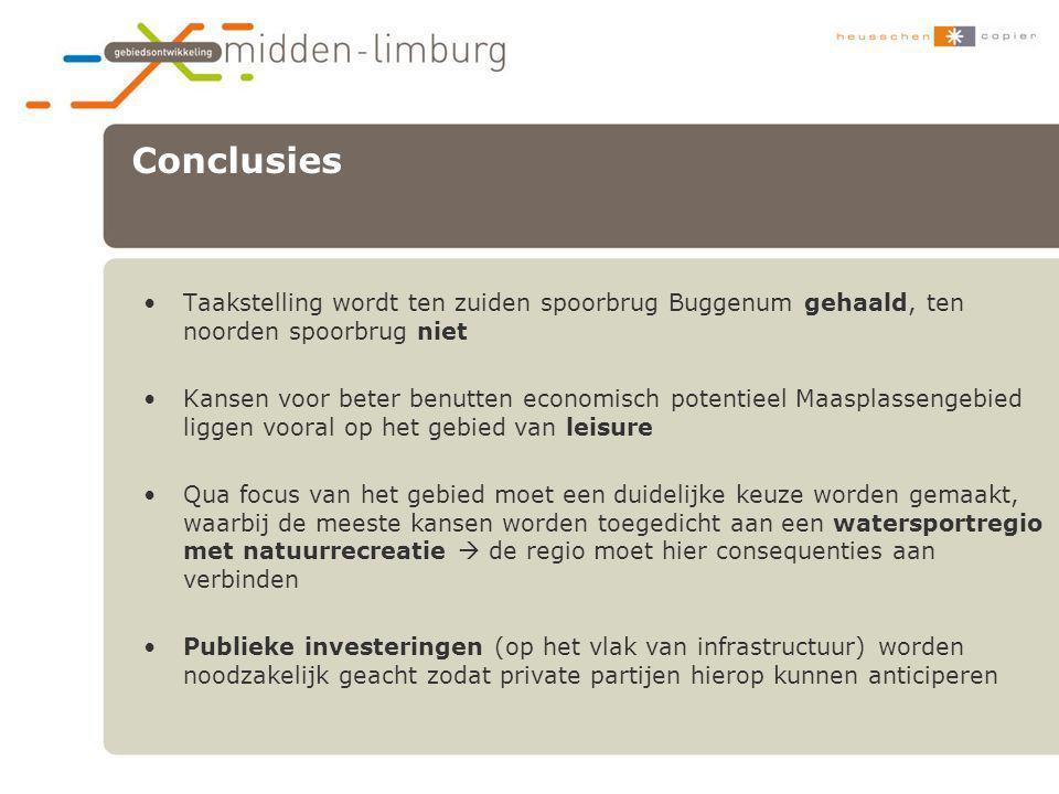 Conclusies Taakstelling wordt ten zuiden spoorbrug Buggenum gehaald, ten noorden spoorbrug niet.
