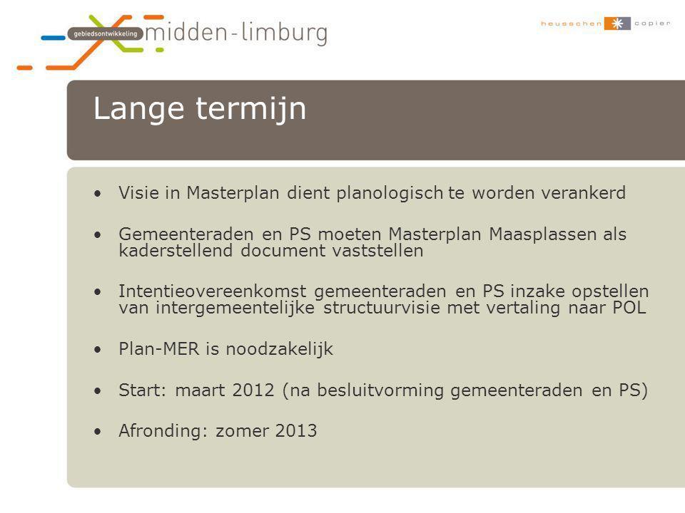 Lange termijn Visie in Masterplan dient planologisch te worden verankerd.