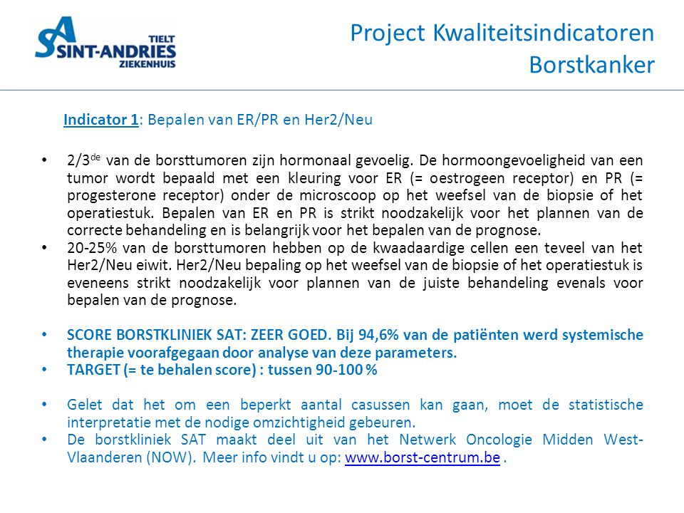 Project Kwaliteitsindicatoren Borstkanker