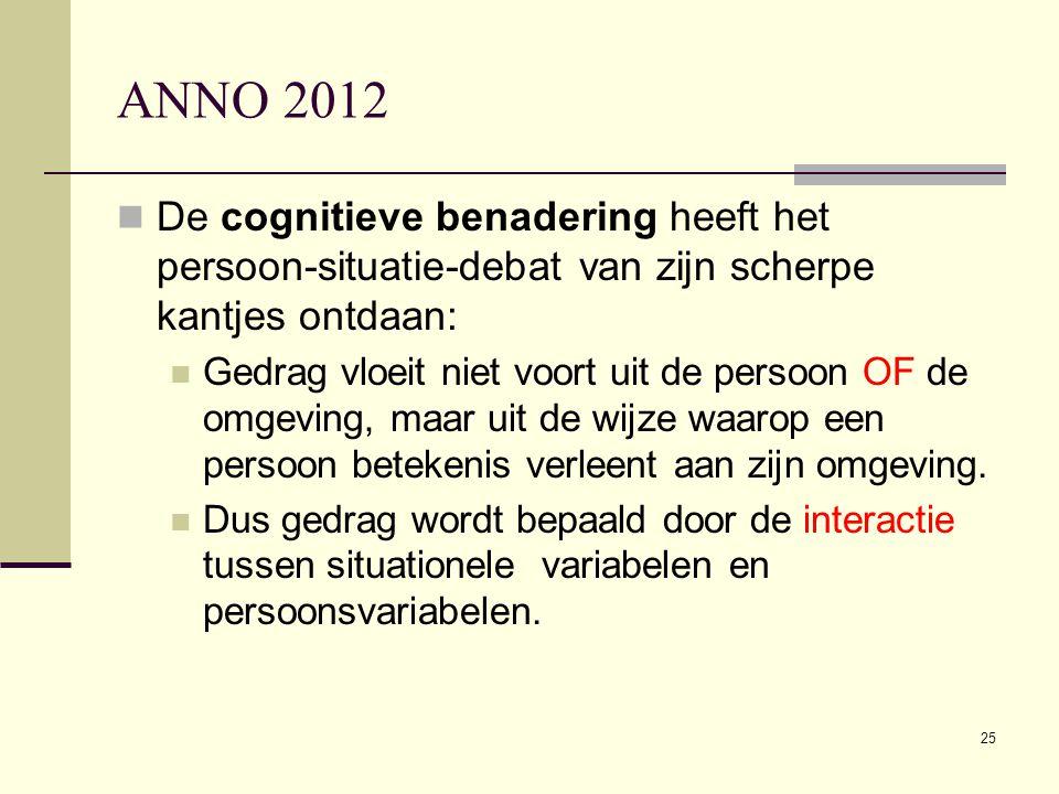 ANNO 2012 De cognitieve benadering heeft het persoon-situatie-debat van zijn scherpe kantjes ontdaan: