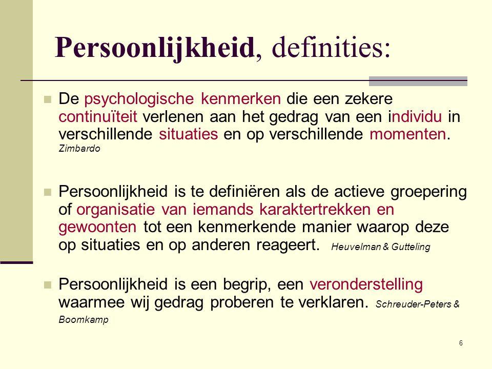 Persoonlijkheid, definities: