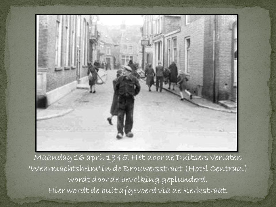 Maandag 16 april 1945. Het door de Duitsers verlaten Wehrmachtsheim in de Brouwersstraat (Hotel Centraal)