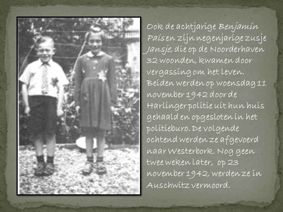 Ook de achtjarige Benjamin Pais en zijn negenjarige zusje Jansje, die op de Noorderhaven 32 woonden, kwamen door vergassing om het leven.