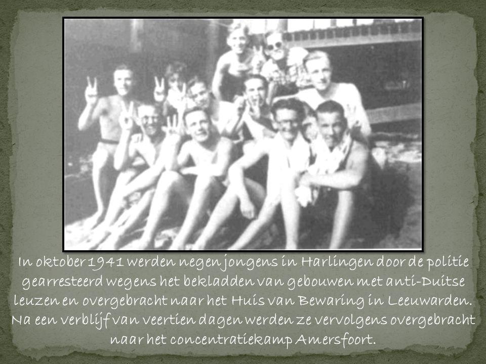 In oktober 1941 werden negen jongens in Harlingen door de politie gearresteerd wegens het bekladden van gebouwen met anti-Duitse leuzen en overgebracht naar het Huis van Bewaring in Leeuwarden.