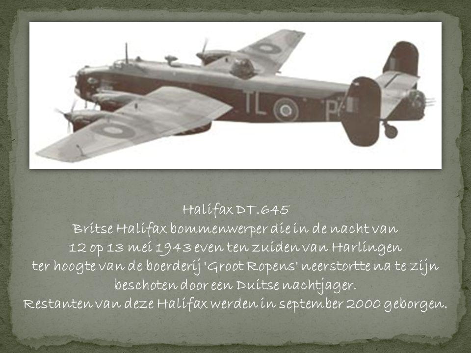 Britse Halifax bommenwerper die in de nacht van