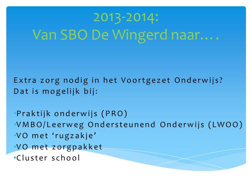 2013-2014: Van SBO De Wingerd naar….