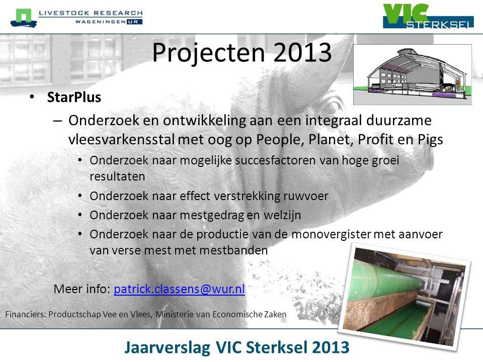 Projecten 2013 StarPlus. Onderzoek en ontwikkeling aan een integraal duurzame vleesvarkensstal met oog op People, Planet, Profit en Pigs.