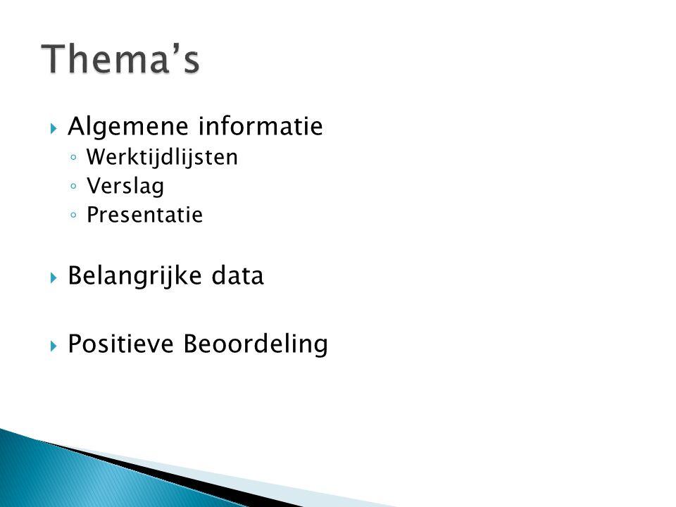 Thema's Algemene informatie Belangrijke data Positieve Beoordeling