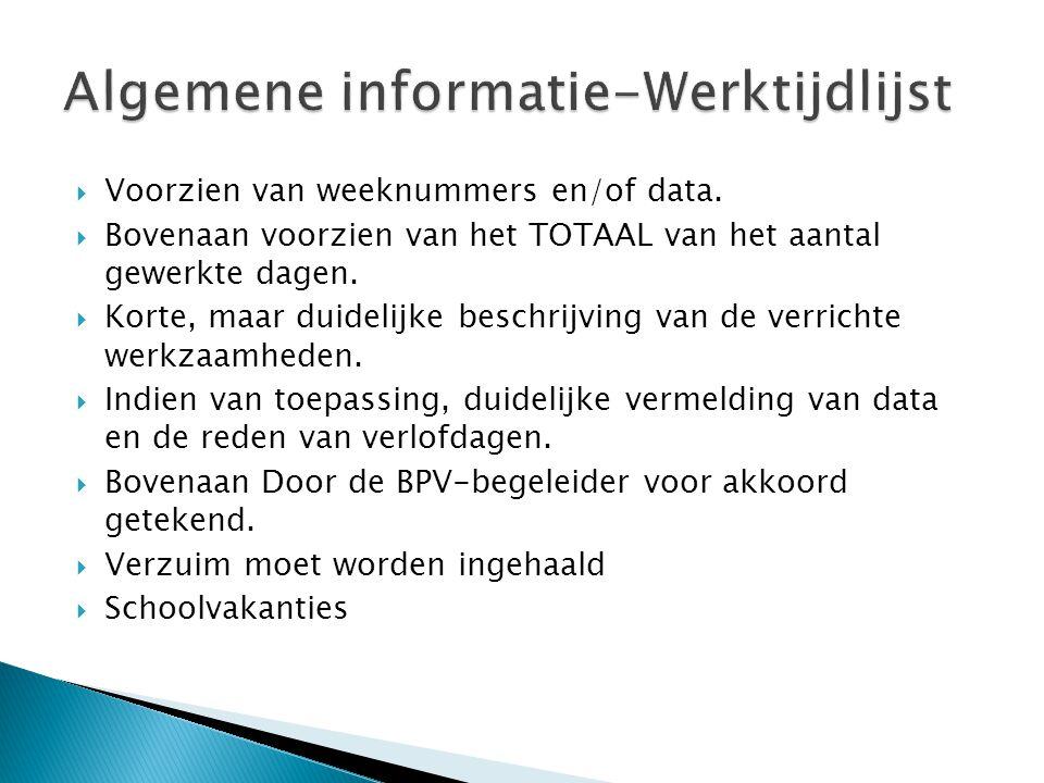Algemene informatie-Werktijdlijst