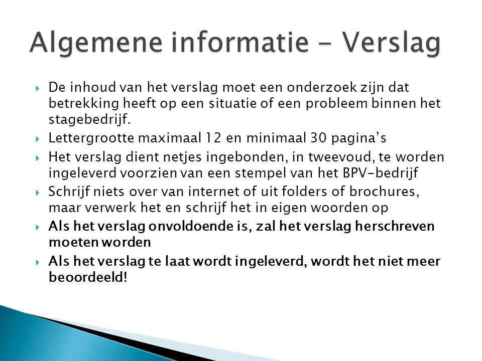 Algemene informatie - Verslag
