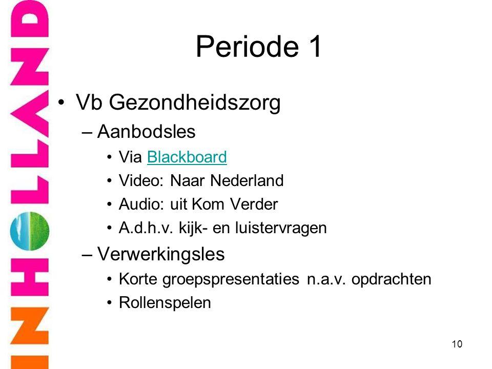 Periode 1 Vb Gezondheidszorg Aanbodsles Verwerkingsles Via Blackboard