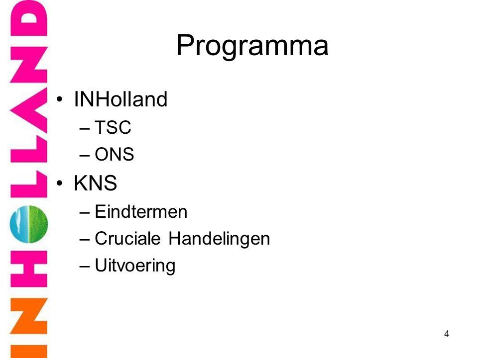 Programma INHolland KNS TSC ONS Eindtermen Cruciale Handelingen