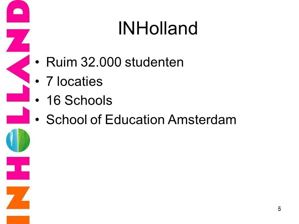 INHolland Ruim 32.000 studenten 7 locaties 16 Schools
