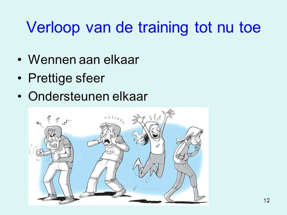 Verloop van de training tot nu toe