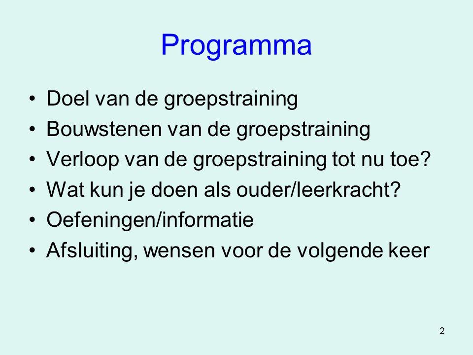 Programma Doel van de groepstraining Bouwstenen van de groepstraining