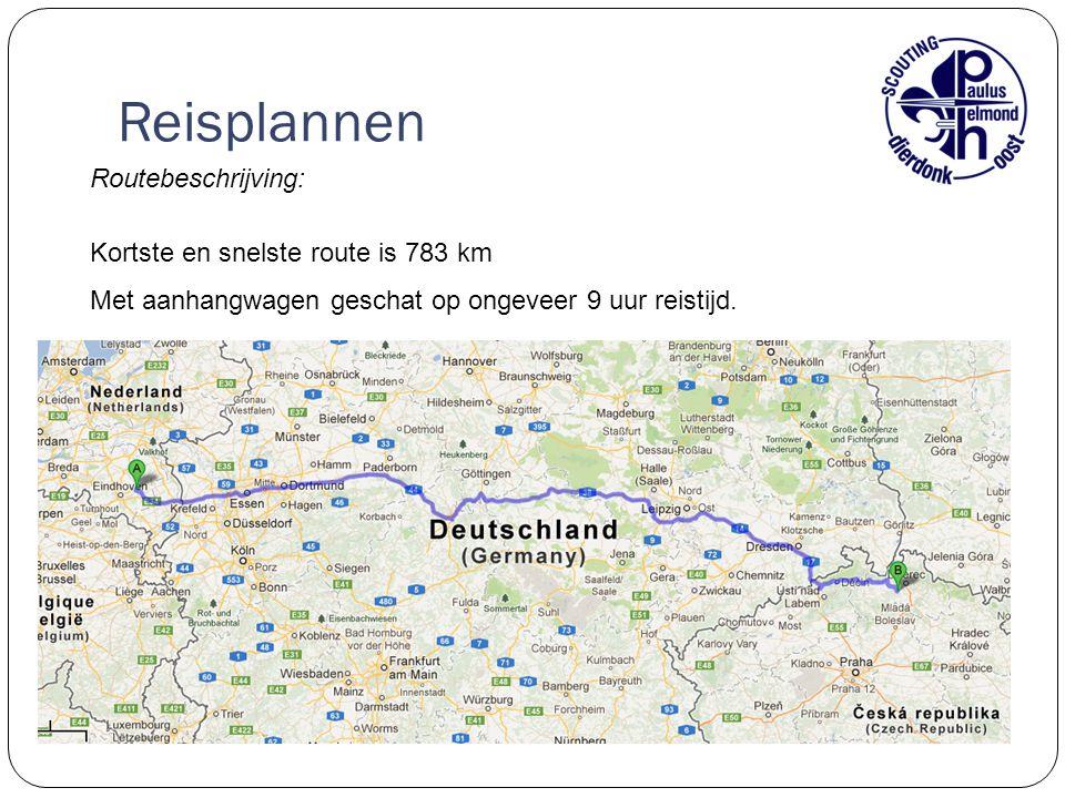 Reisplannen Routebeschrijving: Kortste en snelste route is 783 km
