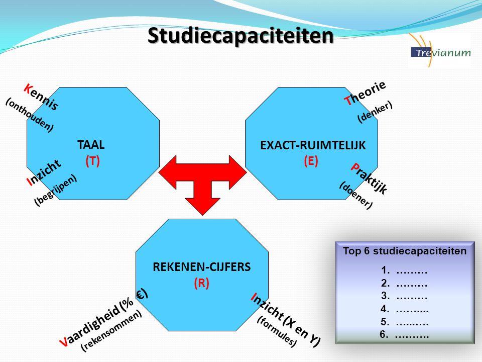 Studiecapaciteiten Theorie Kennis TAAL (T) EXACT-RUIMTELIJK (E)