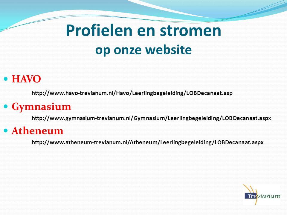 Profielen en stromen op onze website
