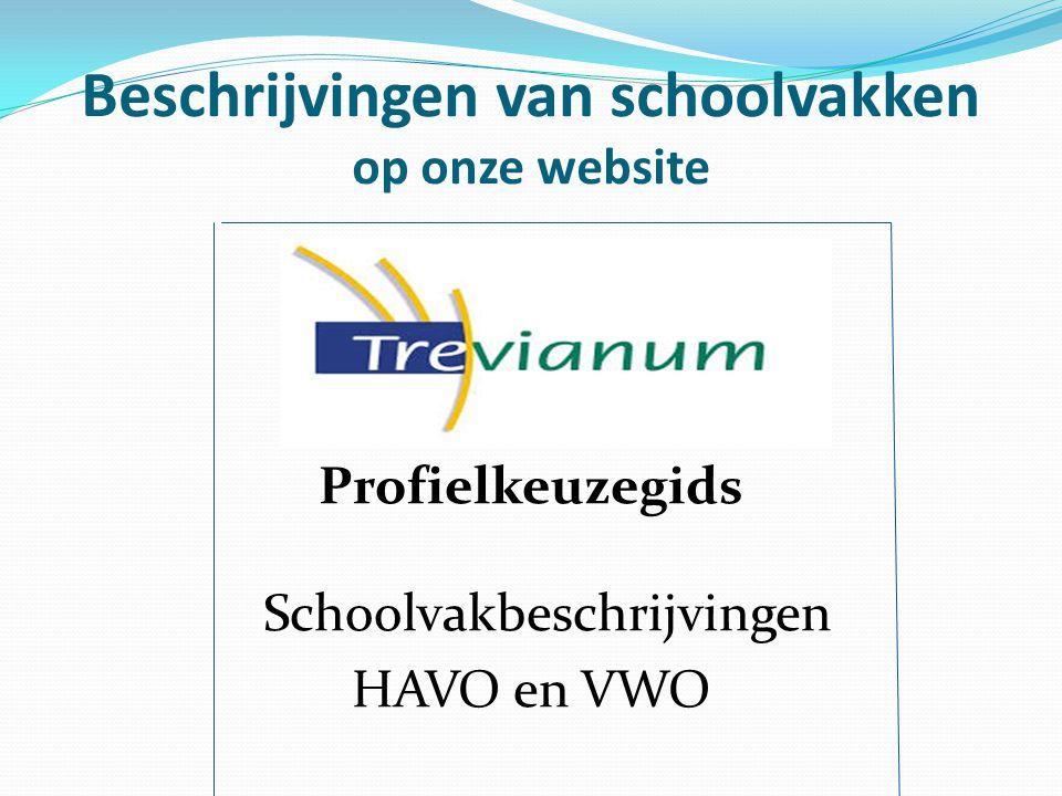 Beschrijvingen van schoolvakken op onze website