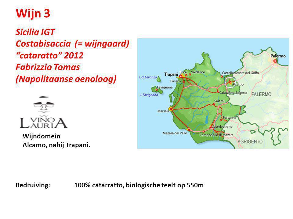 Wijn 3 Sicilia IGT Costabisaccia (= wijngaard) cataratto 2012