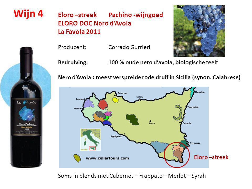 Wijn 4 Eloro –streek Pachino -wijngoed ELORO DOC Nero d'Avola
