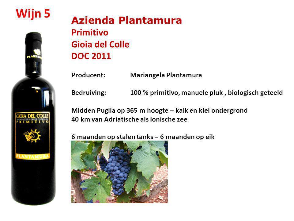 Wijn 5 Azienda Plantamura Primitivo Gioia del Colle DOC 2011