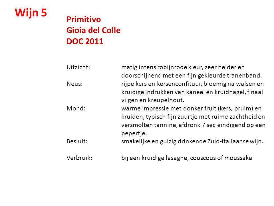 Wijn 5 Primitivo Gioia del Colle DOC 2011