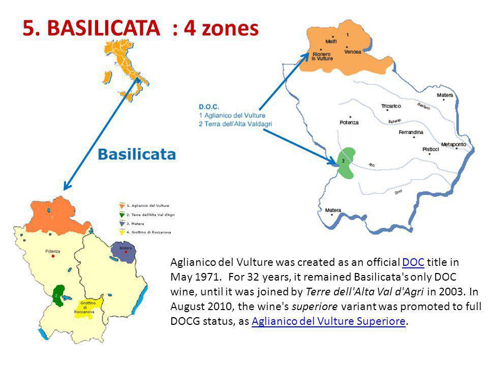5. BASILICATA : 4 zones