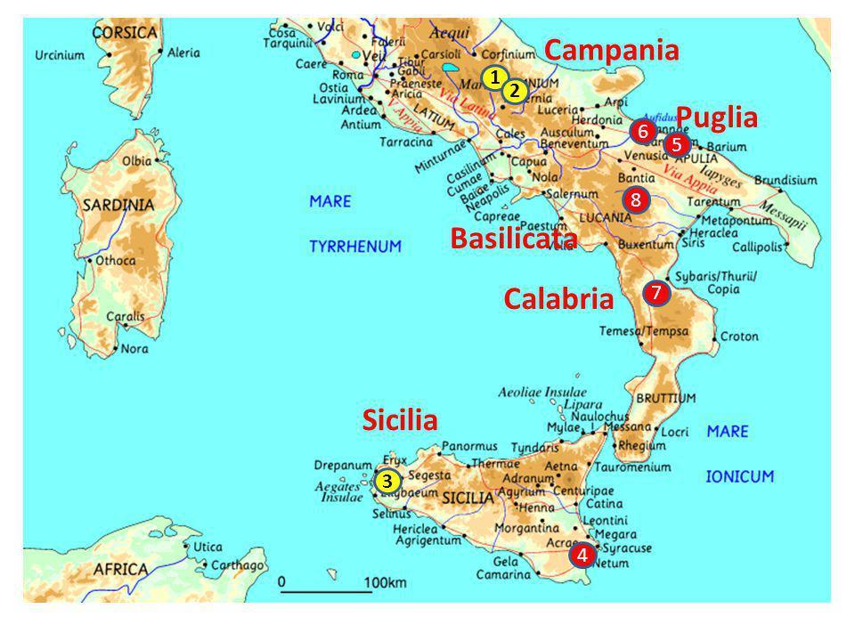 Campania 1 2 Puglia 6 5 8 Basilicata Calabria 7 Sicilia 3 4