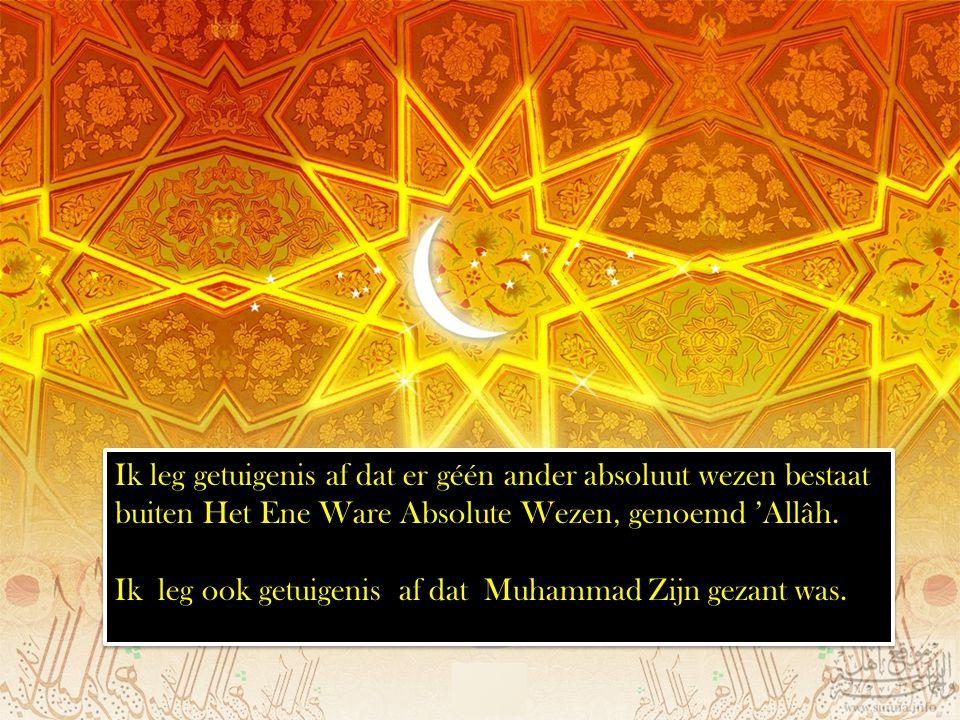 Ik leg getuigenis af dat er géén ander absoluut wezen bestaat buiten Het Ene Ware Absolute Wezen, genoemd 'Allâh.