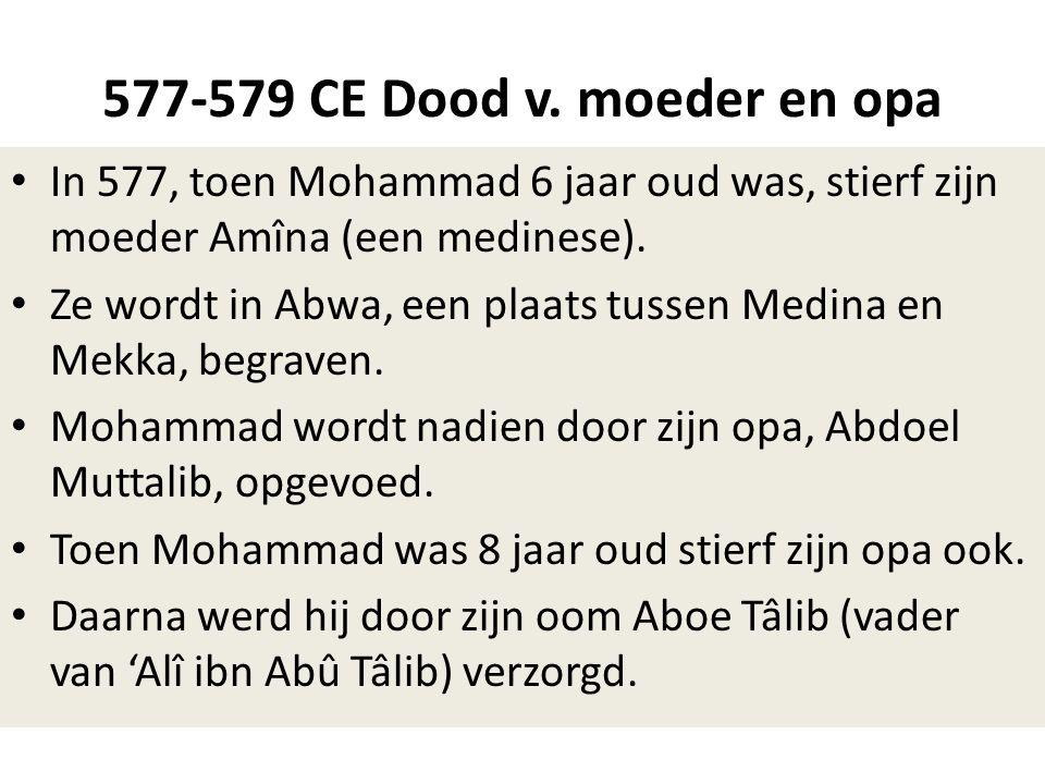577-579 CE Dood v. moeder en opa In 577, toen Mohammad 6 jaar oud was, stierf zijn moeder Amîna (een medinese).