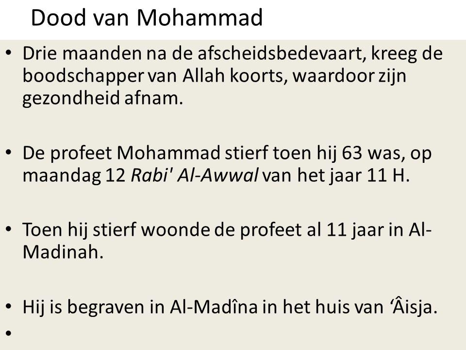 Dood van Mohammad Drie maanden na de afscheidsbedevaart, kreeg de boodschapper van Allah koorts, waardoor zijn gezondheid afnam.