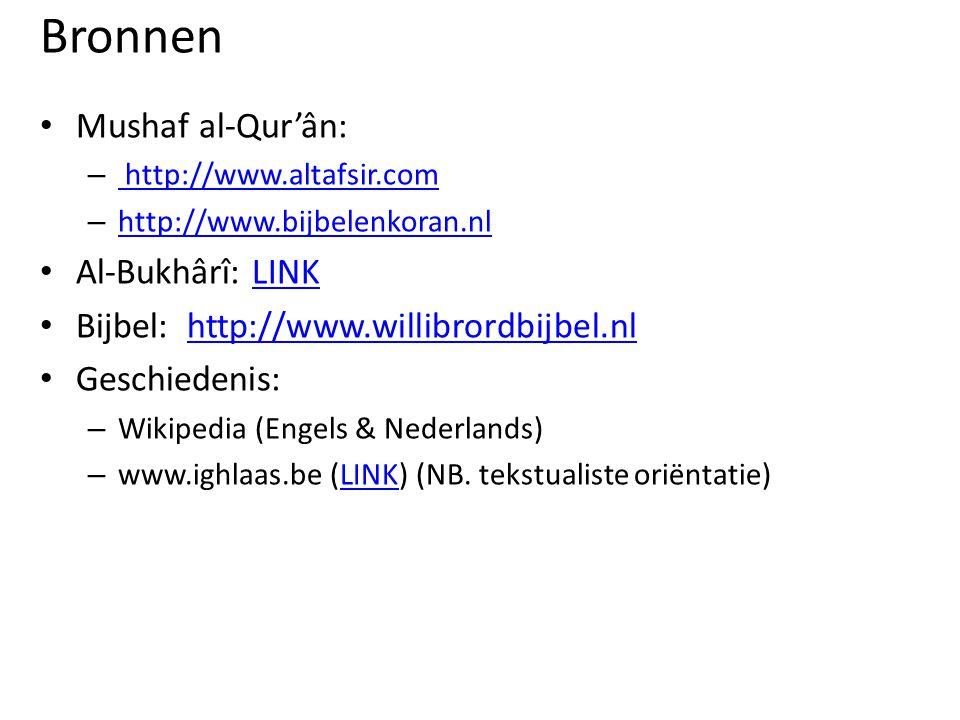 Bronnen Mushaf al-Qur'ân: Al-Bukhârî: LINK