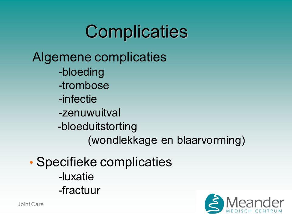 Complicaties Algemene complicaties -bloeding -trombose -infectie