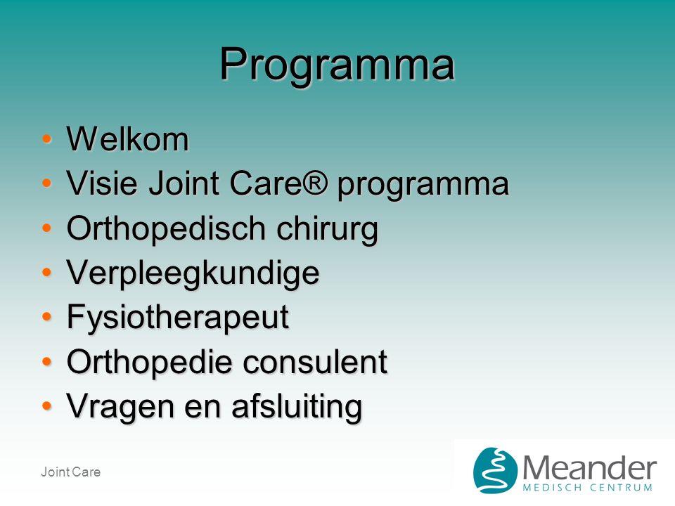 Programma Welkom Visie Joint Care® programma Orthopedisch chirurg