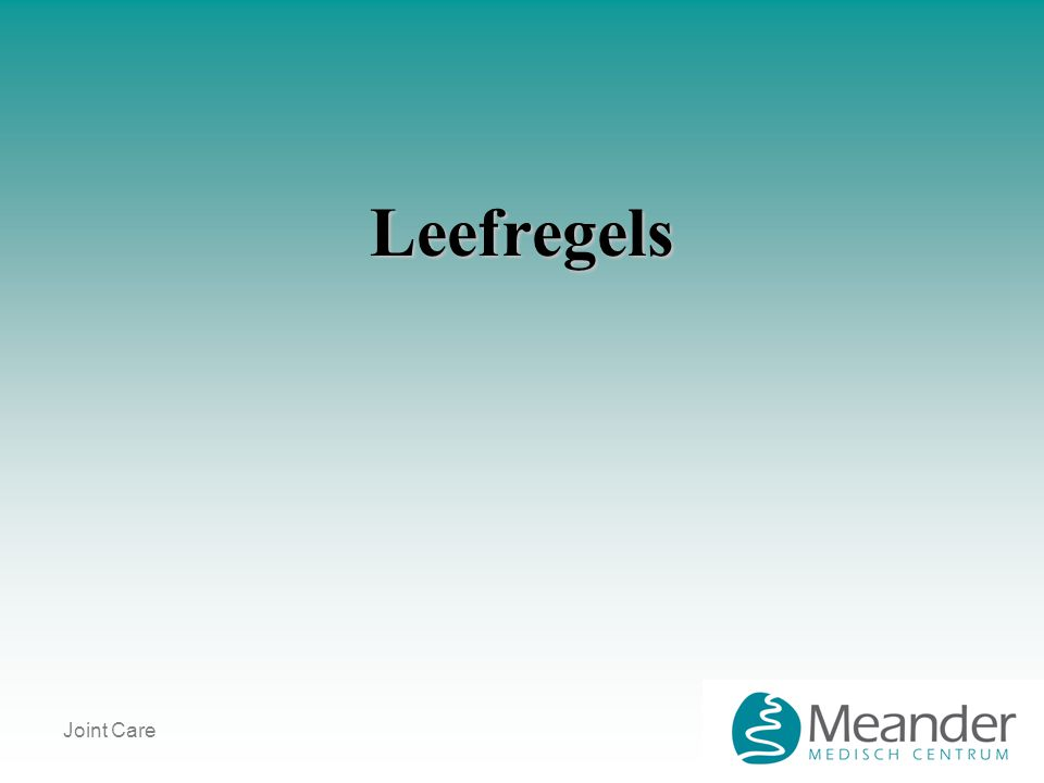 Leefregels Joint Care