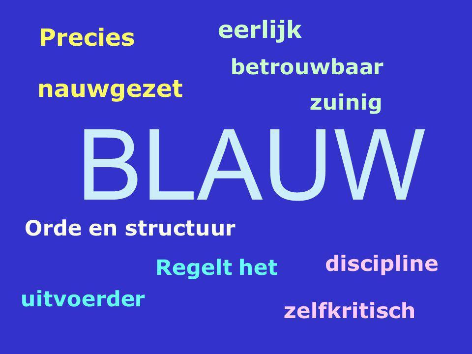 BLAUW eerlijk Precies nauwgezet betrouwbaar zuinig Orde en structuur