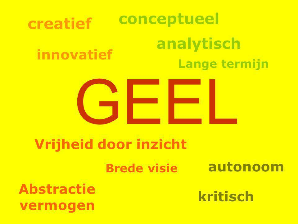 GEEL conceptueel creatief analytisch innovatief Vrijheid door inzicht