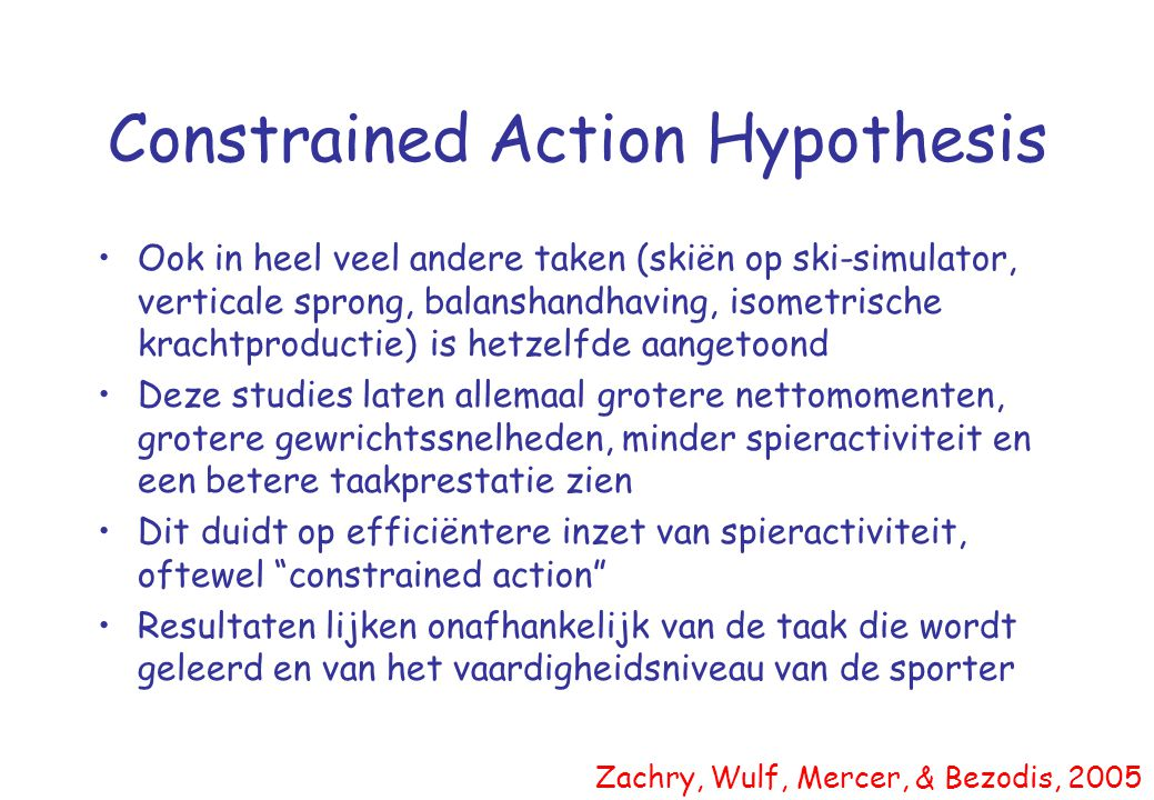 Constrained Action Hypothesis