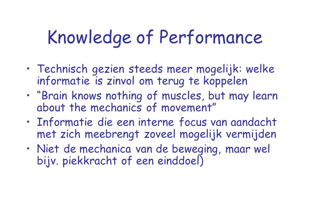 Knowledge of Performance